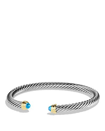 David Yurman - Cable Classics Bracelet with Blue Topaz and Gold