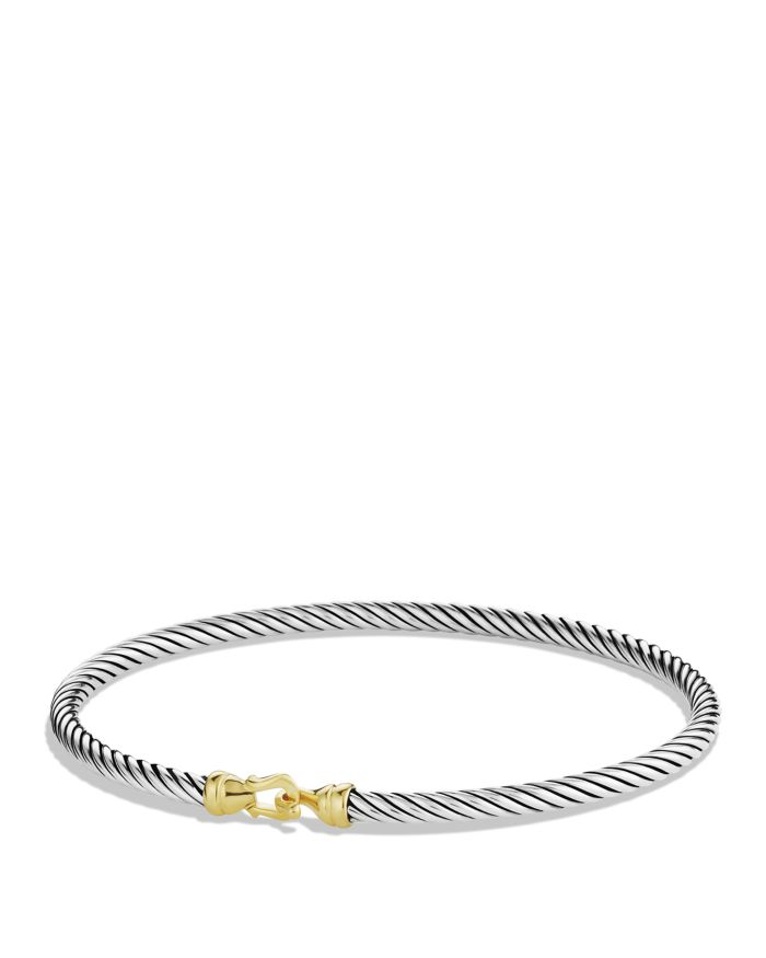 David Yurman Cable Collectibles Buckle Bangle Bracelet with 18K Gold, 3mm    Bloomingdale's