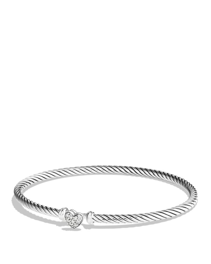 David Yurman Cable Collectibles Heart Bracelet with Diamonds, 3mm    Bloomingdale's