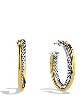 David Yurman - Crossover Medium Hoop Earrings with Gold