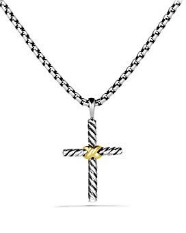 David Yurman - Petite X Cross Necklace with 14K Gold