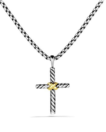 "David Yurman - Petite X Cross Necklace with 14K Gold, 20"""
