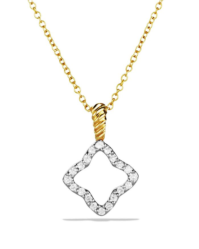 David Yurman - Cable Collectibles Quatrefoil Pendant with Diamonds in Gold on Chain
