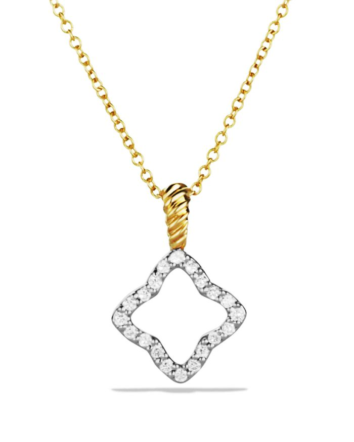 David Yurman Cable Collectibles Quatrefoil Pendant Necklace with Diamonds in 18K Gold    Bloomingdale's