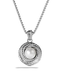 David Yurman - Pearl Crossover Pendant with Diamonds on Chain