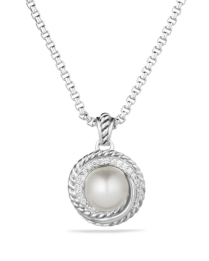 David Yurman - Pearl Crossover Pendant with Diamonds on Chain