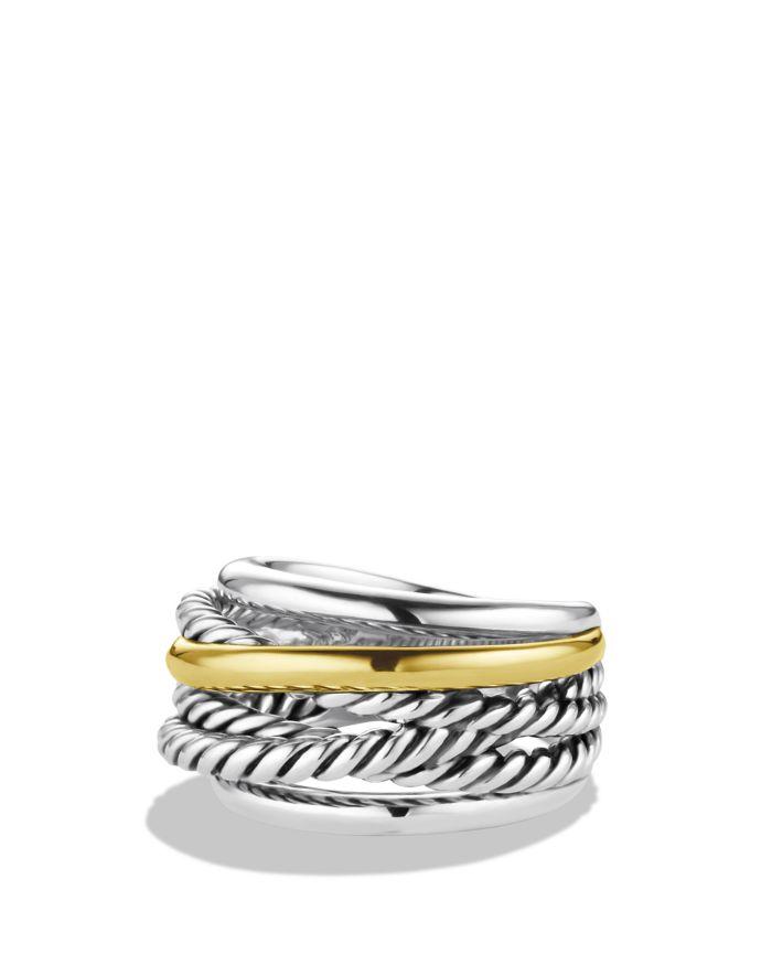 David Yurman Crossover Narrow Ring with Gold  | Bloomingdale's
