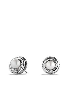 David Yurman - Pearl Crossover Earrings with Diamonds