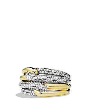 David Yurman Labyrinth Double-Loop Ring with Diamonds & Gold