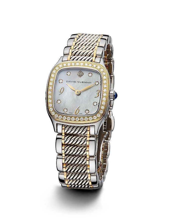 David Yurman - Thoroughbred 25mm Stainless Steel Quartz with Diamond Bezel & Gold