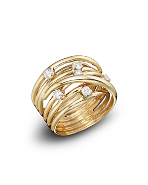 Diamond Station Crossover Band in 14K Yellow Gold, .35 ct. t.w. - 100% Exclusive