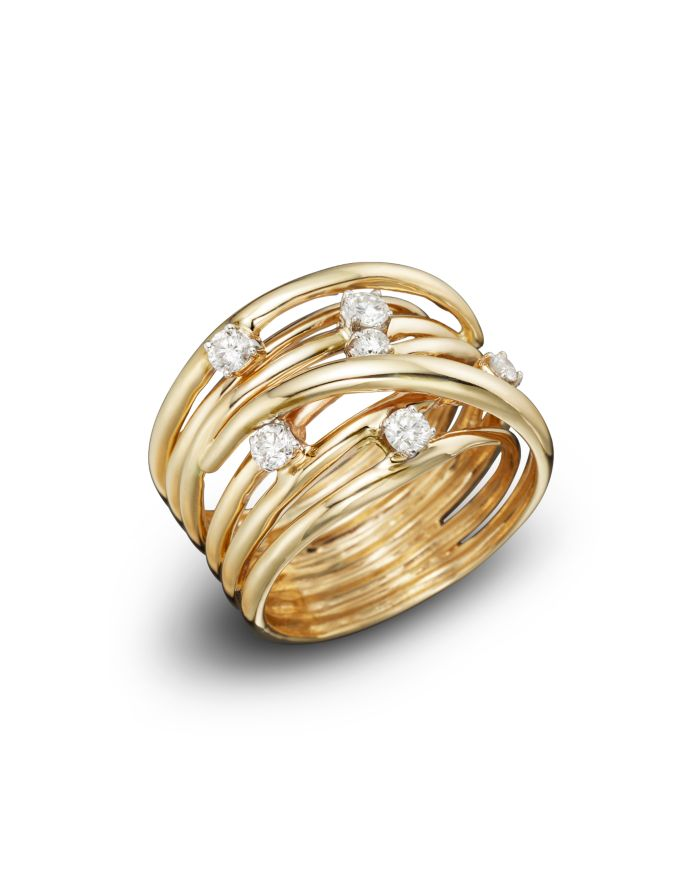 Bloomingdale's Diamond Station Crossover Band in 14K Yellow Gold, .35 ct. t.w. - 100% Exclusive    Bloomingdale's