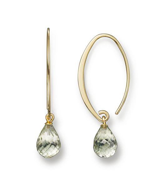 Bloomingdale's - 14K Yellow Gold Simple Sweep Earrings with Prasiolite- 100% Exclusive