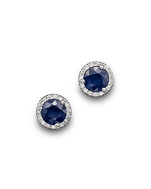 Blue Sapphire and Diamond Halo Stud Earrings in 14K White Gold - 100% Exclusive