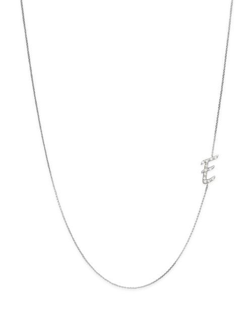 KC Designs - Diamond Side Initial E Necklace in 14K White Gold, .07 ct. t.w.