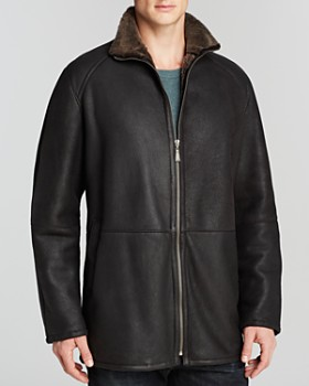 Maximilian Furs - Shearling Lamb Coat with Stand Collar