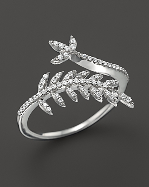 Diamond Leaf Ring in 14K White Gold, .20 ct. t.w. - 100% Exclusive