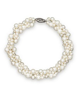 Bloomingdale's - Cultured Freshwater Pearl Woven Bracelet in 14K White Gold, 3mm - 100% Exclusive