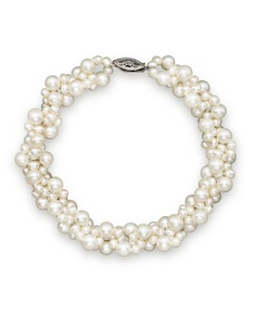 Bloomingdale's - Cultured Freshwater Pearl Woven Bracelet in 14K White Gold, 3mm- 100% Exclusive