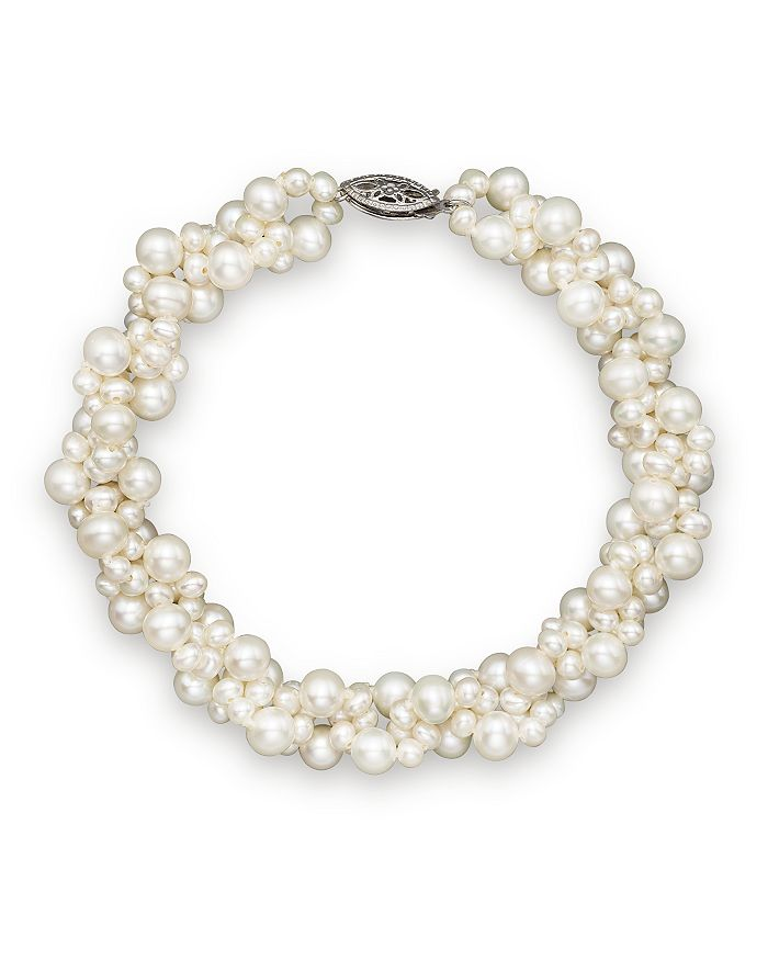 Cultured Freshwater Pearl Woven Bracelet In 14k White Gold 3mm