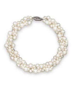 Cultured Freshwater Pearl Woven Bracelet in 14K White Gold, 3mm