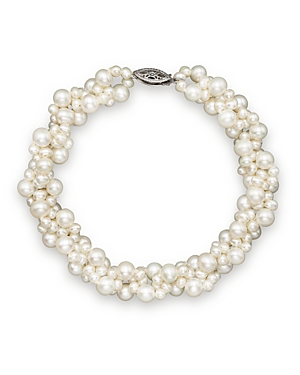 Cultured Freshwater Pearl Woven Bracelet in 14K White Gold, 3mm