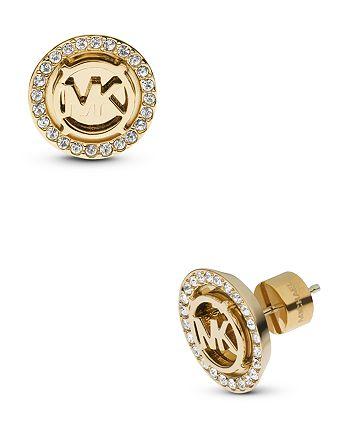 Michael Kors - Pavé MK Logo Stud Earrings