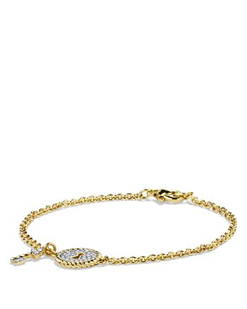 David Yurman - Cable Collectibles Pavé Lock & Key Charm Bracelet with Diamonds in 18K Yellow Gold
