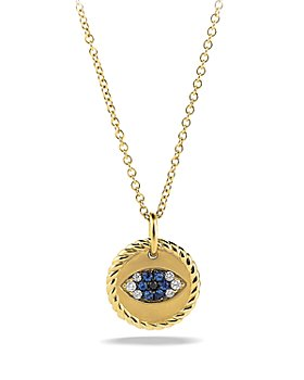 David Yurman - Cable Collectibles Evil Eye Charm Necklace with Blue Sapphire and Diamonds in 18K Gold