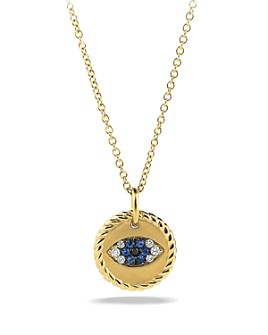 David Yurman - Cable Collectibles Evil Eye Charm Necklace with Blue Sapphire, Black Diamonds & White Diamonds in Gold