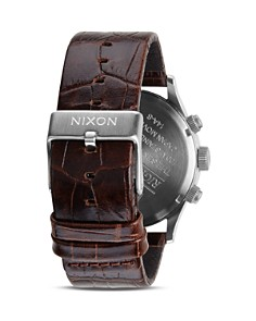 Nixon - The Sentry Chrono Alligator-Embossed Leather Strap Watch, 42mm
