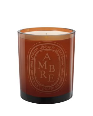 AMBRE SCENTED CANDLE, COLORED GLASS JAR
