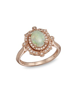 Bloomingdale's - Opal and Diamond Antique Inspired Ring in 14K Rose Gold - 100% Exclusive