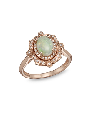 Opal and Diamond Antique Inspired Ring in 14K Rose Gold - 100% Exclusive