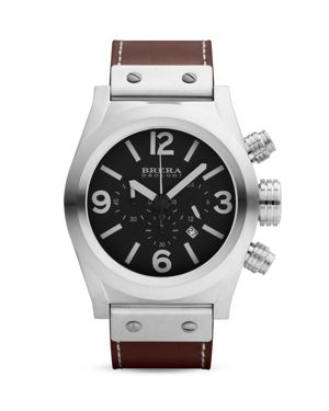 BRERA OROLOGI Eterno Chrono Stainless Steel Watch With Brown Leather Strap, 45Mm