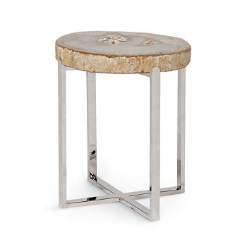 Palecek - Sliced Petrified Wood Small Accent Table
