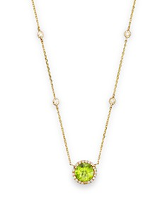 round pendant peridot in cut necklace ct gold