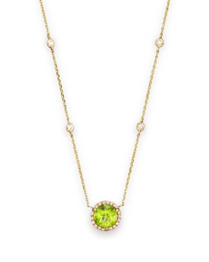 Peridot and Diamond Halo Pendant and Station Necklace in 14K Yellow Gold, 16 - 100% Exclusive