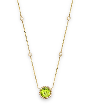 Peridot and Diamond Halo Pendant Necklace with 4 Stations in 14K Yellow Gold, 16 - 100% Exclusive
