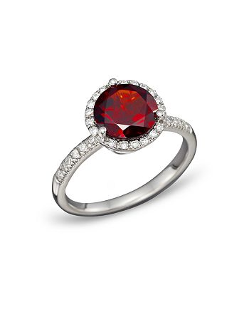 Bloomingdale's - Garnet and Diamond Halo Ring in 14K White Gold - 100% Exclusive