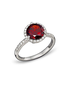 Garnet and Diamond Halo Ring in 14K White Gold - 100% Exclusive