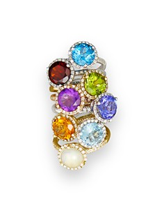 Gemstone and Diamond Halo Ring in 14K Gold - 100% Exclusive - Bloomingdale's_0