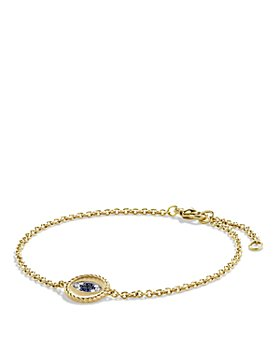 David Yurman - Pavé Cable Evil Eye Charm with Blue Sapphire, Diamonds & Black Diamonds in Gold