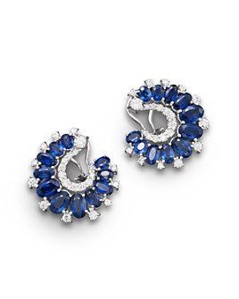 Bloomingdale's - Sapphire and Diamond Earrings in 14K White Gold, 1.15 ct. t.w. - 100% Exclusive