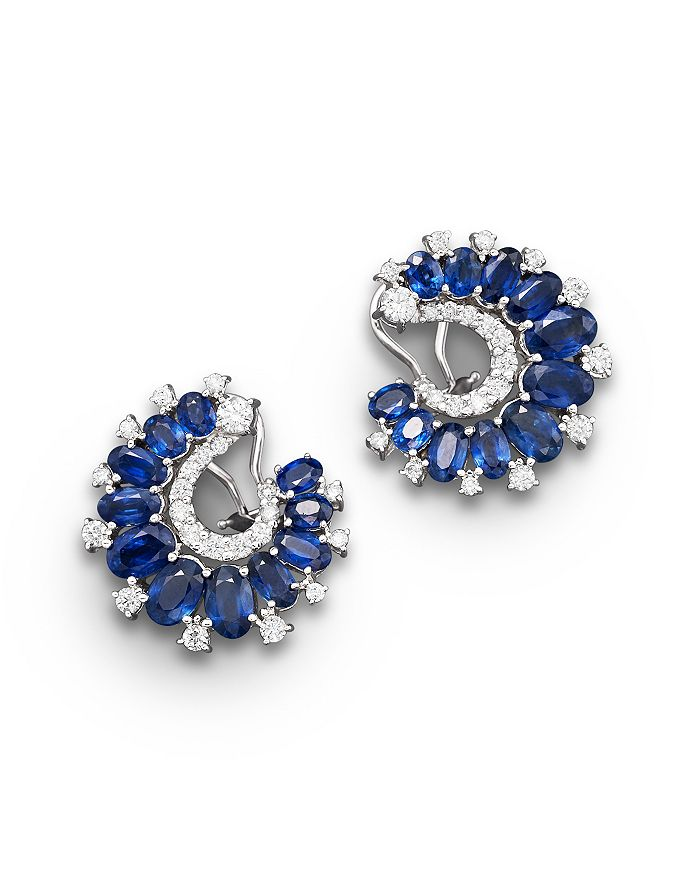 Bloomingdale's - Sapphire and Diamond Earrings in 14K White Gold, 1.15 ct. t.w.- 100% Exclusive