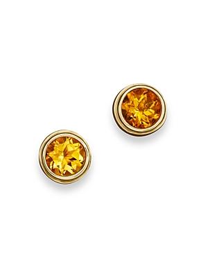 Citrine Bezel Set Stud Earrings in 14K Yellow Gold - 100% Exclusive