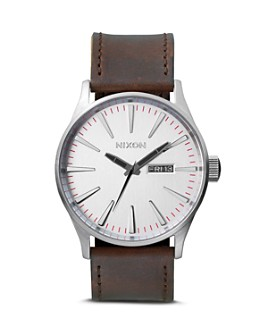 Nixon - The Sentry Leather Strap Watch, 42mm