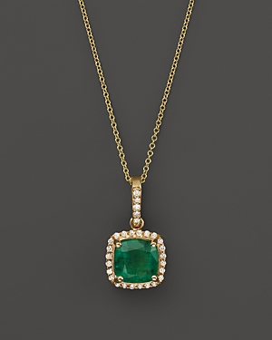 Emerald and Diamond Pendant Necklace in 14K Yellow Gold, 18 - 100% Exclusive