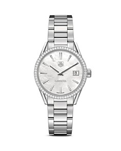 TAG Heuer Carrera Stainless Steel and White Mother of Pearl Dial Watch with Diamond Bezel Case, 32mm - Bloomingdale's_0