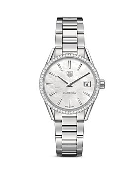 TAG Heuer - TAG Heuer Carrera Stainless Steel and White Mother of Pearl Dial Watch with Diamond Bezel Case, 32mm